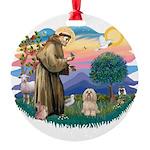 St.Francis #2/ Lhasa Apso (# Round Ornament