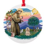 St.Francis #2/ Lhasa Apso (# Round Ornament