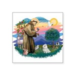 "St.Francis #2/ Maltese #7 Square Sticker 3"" x"