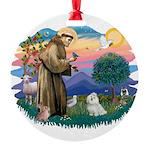 St.Francis #2/ Maltese #7 Round Ornament