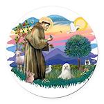 St.Francis #2 / Maltese Round Car Magnet