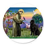 Saint Francis' Newfie Round Car Magnet