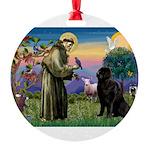 Saint Francis' Newfie Round Ornament
