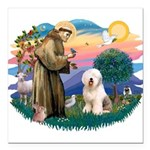 St.Francis #2/ Old English (# Square Car Magnet 3&