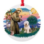 St.Francis #2/ Old English (# Round Ornament