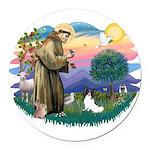 St. Francis #2 / Papillon Round Car Magnet
