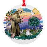 St.Francis #2 / Papillon (sw Round Ornament
