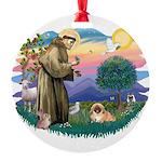 St.Francis #2 / Pekingese #1 Round Ornament