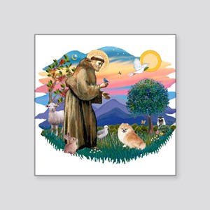St.Francis #2/ Pomeranian (r) Square Sticker 3&quo