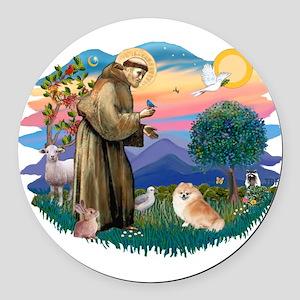 St.Francis #2/ Pomeranian (r) Round Car Magnet