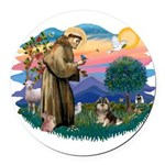 St.Francis #2/ Pomeranian (T Round Car Magnet