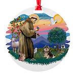 St.Francis #2/ Pomeranian (T Round Ornament
