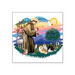 St.Francis #2/ Pomeranian(3) Square Sticker 3&quot