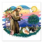 St.Francis #2/ Pomeranian(3) Square Car Magnet 3&q