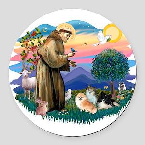 St.Francis #2/ Pomeranian(3) Round Car Magnet