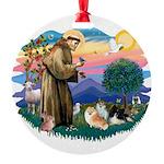 St.Francis #2/ Pomeranian(3) Round Ornament