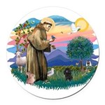 St.Francis #2/ Poodle (Toy Bl Round Car Magnet