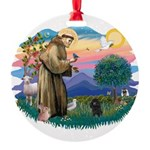 St.Francis #2/ Poodle (Toy Bl Round Ornament