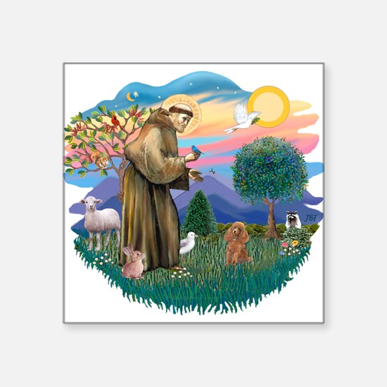 St.Francis #2/ Poodle (Toy A) Square Sticker 3&quo