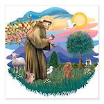 St.Francis #2/ Poodle (Toy A) Square Car Magnet 3&