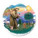 St.Francis #2/ Poodle (Toy A) Round Car Magnet