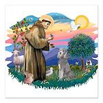 St.Fran #2/ Poodle (Std S) Square Car Magnet 3&quo