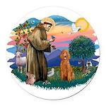 St.Fran #2/ Poodle (Std-ap) Round Car Magnet