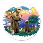 St.Francis #2 / Poodle (ST-Ch Round Car Magnet