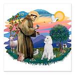 St.Francis #2/ Poodle (Std W) Square Car Magnet 3&