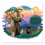 St Francis #2 / PWD (sit) Square Car Magnet 3