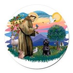 St Francis #2 / PWD (sit) Round Car Magnet