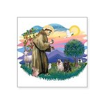 St.Francis #2/ Pugs (2-blk/f) Square Sticker 3&quo