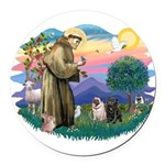 St.Francis #2/ Pugs (2-blk/f) Round Car Magnet