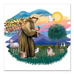 St Francis #2/ Pug (fawn) Square Car Magnet 3