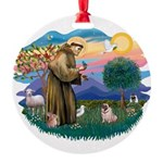 St Francis #2/ Pug (fawn) Round Ornament