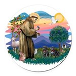 St.Francis #2/ Pugs (2 black) Round Car Magnet