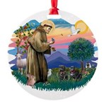 St.Francis #2/ Pugs (2 black) Round Ornament