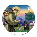 St Francis / Pug Round Car Magnet