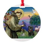 St Francis / Pug Round Ornament