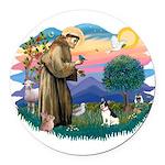 St.Francis #2/ Rat Terrier Round Car Magnet