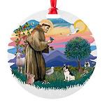 St.Francis #2/ Rat Terrier Round Ornament