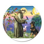 St Francis / Rottweiler Round Car Magnet