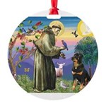 St Francis / Rottweiler Round Ornament