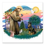 St.Francis #2/ Rottweiler Square Car Magnet 3&quot