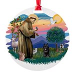 St.Francis #2/ Schippereke #4 Round Ornament