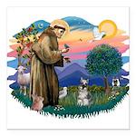 St.Francis #2/ Schnauzer #1 Square Car Magnet 3&qu