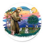 St.Francis #2/ Schnauzer #1 Round Car Magnet
