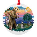 St.Francis #2/ Schnauzer #1 Round Ornament