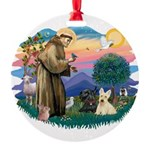St.Francis #2/ Scottys (2) Round Ornament