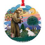 St Francis #2/ Sealyham T Round Ornament